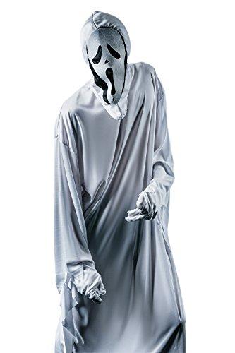Adult Men Spooky Ghost Costume Zombie Evil Spirit Robe Midnight Ghoul Dress Up (Medium/Large, Black, White)