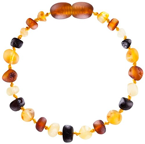 Baltic-Amber-Teething-Bracelet-or-Anklet-for-Babies-Toddlers-and-Kids-Lab-Tested-Raw-Unpolished-Multicolored-6-Inches