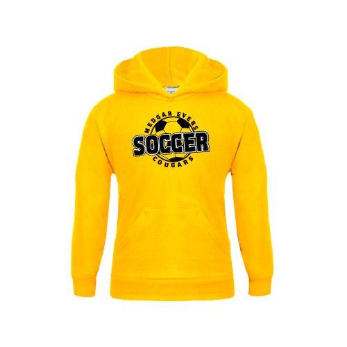 Medgar Evers College Youth Gold Fleece Hoodie Soccer Design