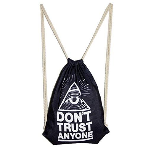 estilo hombro bolso ojos bolsa Las bolsa cordón mochila mujeres del Harajuku Impreso q0R6tH8R