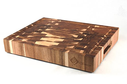 Grain End Large (EIKware Large End Grain Cutting Board | Acacia Wood | 15.2 x 11.8 x 2.6 inches | Integrated Juice Groove and Carrying Handles | Non Slip Rubber Feet)