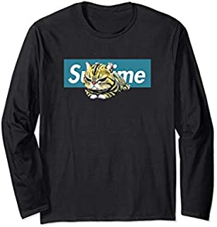 Adorable Cat , Cute Sublime Cat  in a blue box Long Sleeve T-shirt | Size S - 5XL