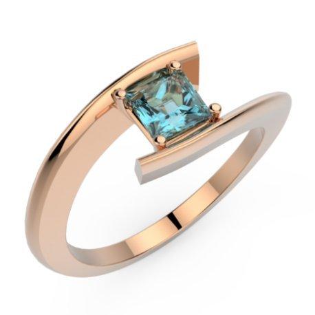 HABY PRINCESSE Bagues Or Rose 18 carats Topaze Bleu 0,8 Princesse