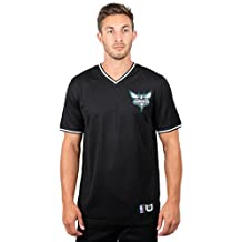 UNK NBA Men's Jersey T-Shirt V-Neck Mesh Short Sleeve Tee Shirt, Black