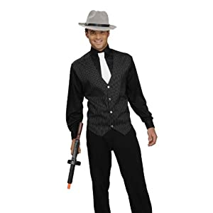 Men's Gangster Shirt, Vest And Tie, Black/White, One Size Costume