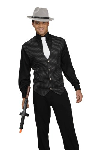 Men In Black Group Costume (Men's Gangster Shirt, Vest And Tie, Black/White, One Size Costume)