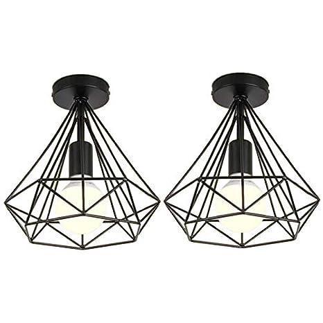 Lopbinte 2 Unids Luz de Techo Forma de Jaula Industrial Diamante ...