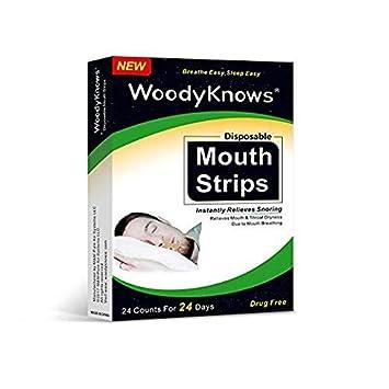 WoodyKnows Lote de 24 Tiras para la boca Tiras para dormir antirronquidos Cinta adhesiva Tiras para ...