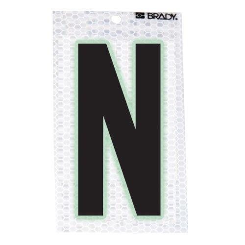 Brady 3020-N, 105595 Glow-In-The-Dark/Ultra Reflective Letter - N, 15 Packs of 10 pcs