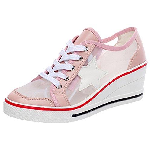 Casuel 42 Baskets Été Mesh Lacets Wealsex Femme Printemps Taille Respirante Compensée Cuir 43 Montante 40 41 Rose Chaussures Pu fZvxwRv