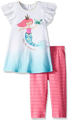 Mud Pie Baby Girls Mermaid Flutter Sleeve Tunic and Capri 2 Piece Playwear Set, Multi, 4T