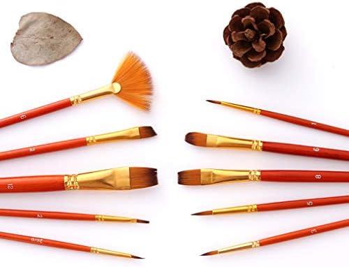JIOLK 画材筆ブラシ ペイントブラシ 油絵筆 ナイロン 画材筆 水彩画筆 装飾 モデル 人形 ネイルアート 絵具用 油絵用 レッド 10本セット