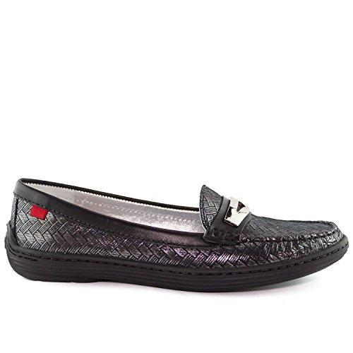 Femmes En Cuir Véritable Made In Brésil Mocassins Atlantiques Marc Joseph Ny Chaussures De Mode Chevrons Métalliques Noir Argent