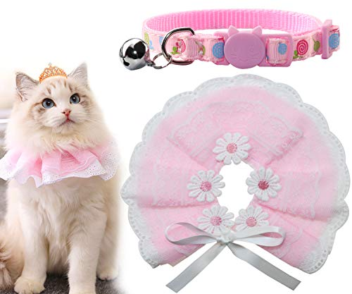 Joytale Cat Collar and Bandana,Princess Lace Style Kerchief for Girls,Safe Breakaway Buckle Kitty Collars,Fashion Scarf Great for Kitty Birthday Outfit,Gift and Party,Pink & Pink