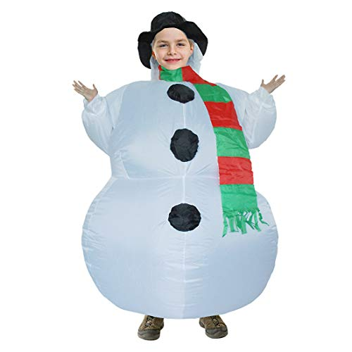 Inflatable Snowman Costumes Kid Christmas Blow Up Costume Fits 120-150cm Tall Child]()