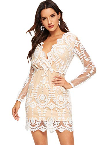 ROMWE Women's Plunging V Neck Embroidered Mesh Long Sleeve Cocktail Short Dress Champagne Small