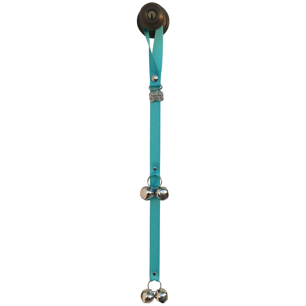 PoochieBells Solid Turquoise Design Pet Door-Doorbells