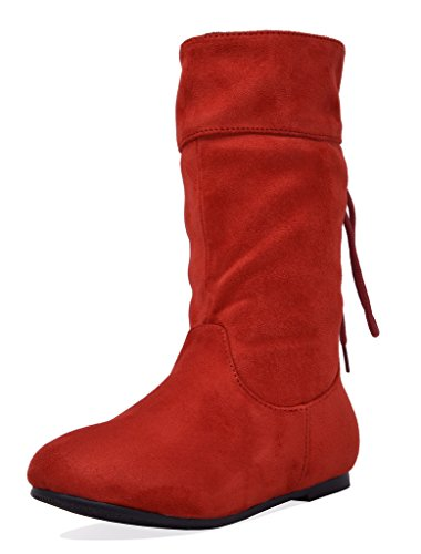 DREAM PAIRS Girls Little Kid Klace Red Faux Suede Knee High Boots Size 1 M US Little Kid
