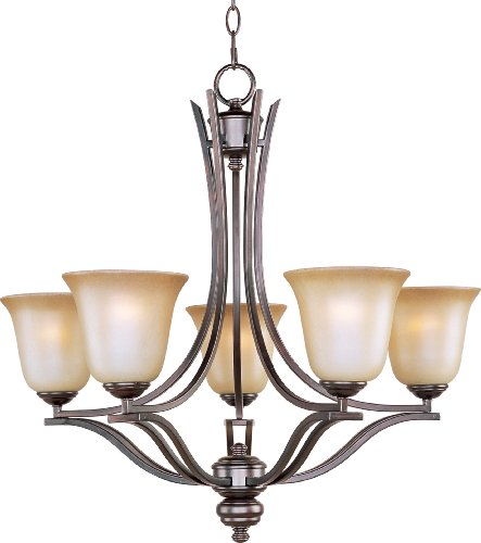Maxim 10175WSOI Madera 5-Light Chandelier, Oil Rubbed Bronze Finish, Wilshire Glass, MB Incandescent Incandescent Bulb , 60W Max., Damp Safety Rating, Standard Dimmable, Opal Glass Shade Material, Rated Lumens (Silver Wilshire Chandelier)