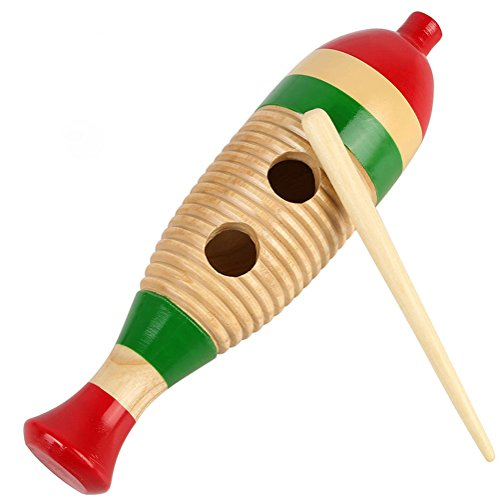 Woden Gurio Fish-Shaped Colorful Gurio Rhythm Band Traditional Guiro w/ Scratcher Kid Musical Toy Percussion (Traditional Fish)