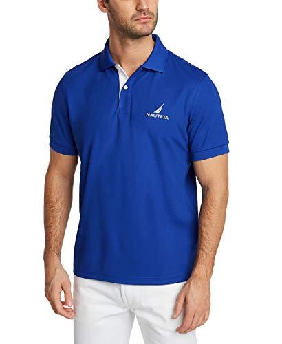 Nautica Men's Short Sleeve Stain Resistant Stripe Collar Polo Shirt, Bright Cobalt, Large