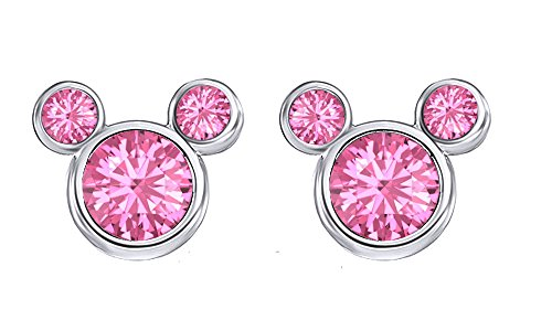 October Birthstone Tourmaline Mickey Mouse Stud Earrings In 14k White Gold Over Sterling Silver -