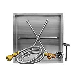 firegear fpb-32sbsmt-n UL Listed Match luz Gas Fire Pit Burner Kit, cuenco cuadrado cacerola, Gas natural, 29-Inch
