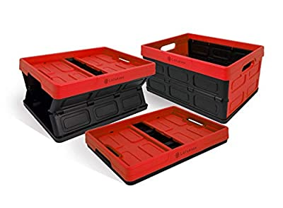 Lotus USA Foldable Stackable Hardside Storage Crate 64 Quart and Black