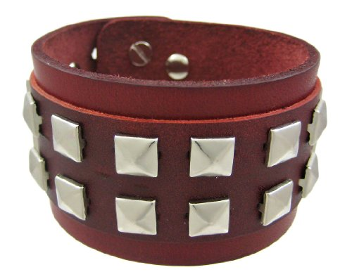 (Zeckos Brown Leather 2 Row Pyramid Stud Wristband Wrist Band)