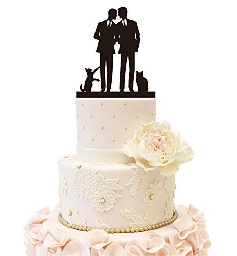 Price comparison product image Same Sex Gay Mr & Mr 2 Cats Wedding Anniverary Cake Topper (2 Cats (Black))