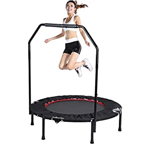 "Homgrace Foldable Rebounder Trampoline with Handle Bar, 40"" Outdoor Indoor Exercise Fitness Workout Training for Adults or Kids"
