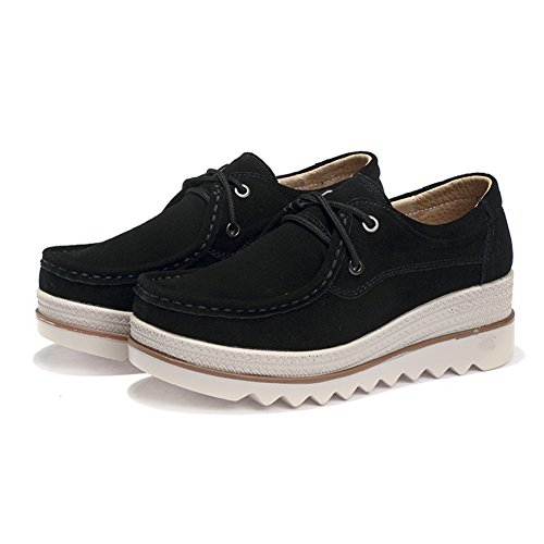Pictures of HKR Women Lace Up Suede Platform Sneakers 5
