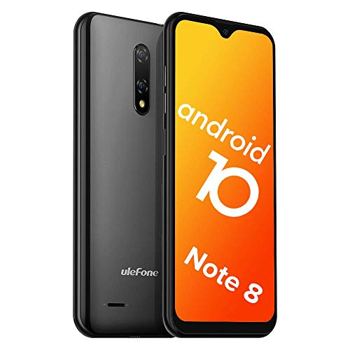 Teléfono Móvil Libre, Ulefone Note 8 Android 10 3G Smartphone Libre, 2GB RAM 16GB ROM (128GB SD) Smartphone, Pantalla 5.5″ Water-Drop Screen Movil, 5MP + 2MP + 2MP, Dual SIM, Face ID, GPS (Negro)