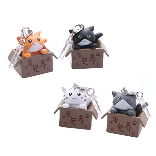 UKCOCO Cute Cat in Boxes Dust Plug Stopper Universal 3.5mm Silicone Anti Dust Earphone Jack Plug Cap for iPhone Samsung and Others Smartphone(Random Color) 1PCS
