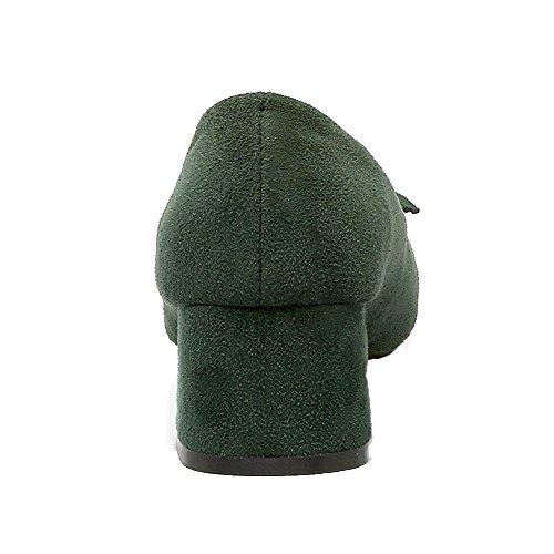 Army Puro Tirare VogueZone009 Plastica Donna Medio Quedrata Tacco Green Ballerine Punta qqBzTxYn