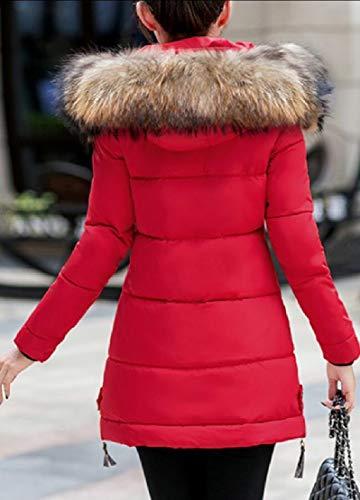 Pelliccia Lungo Ispessite Cappotto Inverno Cappuccio Il Giù Piumino Eku Donne Rosso In Con xzqEwUWO5