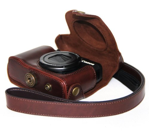 Dengpin Protective Leather (Upgraded version)Camera Case,Bag for Canon PowerShot G16((Dark Brown))