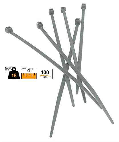 """BuyCableTies 4"""" Miniature Style Indoor Cable Ties - 18 lb Rated - Made in USA - Gray - 100 per bag from Buycableties"""