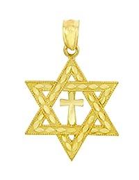 14k Gold Jewish Charm Center Cross Star of David Pendant