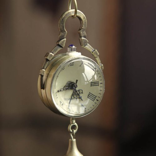 ZPS Retro Vintage Bronze Quartz Ball Glass Pocket Watch Necklace Chain Steampunk