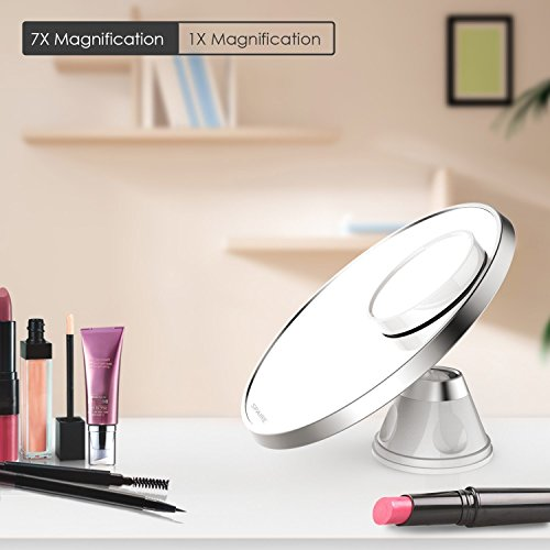 Spaire Vanity Makeup mirror 7X/1X Magnification Bathroom Shaving Mirror with Lock Suction Cup 360 Degree Swivel for Beauty and Skin (Swivel Bathroom Mirrors)