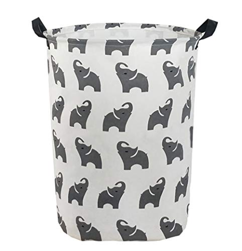 ESSME Large Storage Bin,Canvas Fabric Storage Baskets with Handles,Collaspible Laundry Hamper for Household,Gift Baskets,Toy Organizer (Naughty Elephant)