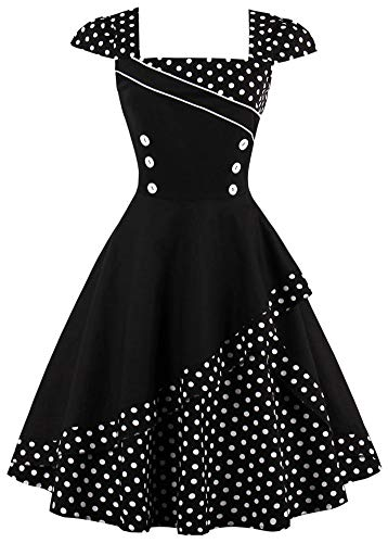 Nihsatin Women's Cap Sleeve Retro Rockabilly Swing Dress Vintage Polka Dot Tea Dress