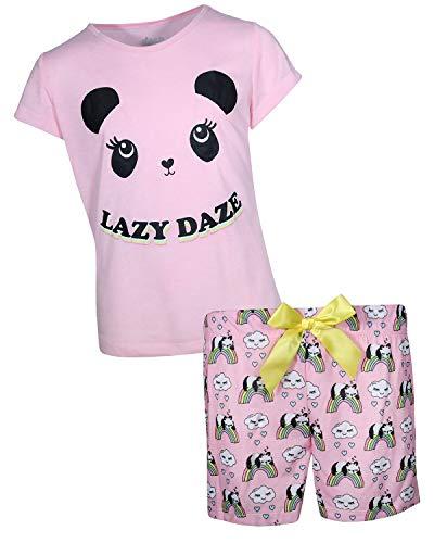 Panda Girl - Sleep On It Girls Sleepwear Short Sleeve Tee and Shorts Pajama Set, Lazy Daze/Pink Panda, Size 10/12'