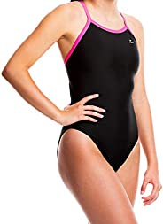 Flow Ignite Swimsuit for Girls - Size 23 to 30 One Piece Competition Swim Suit in Black, Blue, and Red
