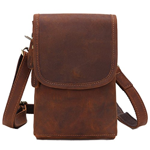 FANGDA Genuine Leather Brown Fanny Small Messenger Shoulder Satchel Waist Bag Pack for Men (Small) by FANGDA (Image #6)