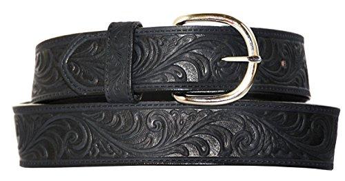 (Silvercreek Men's Hand Tooled Western Belt Black 36)