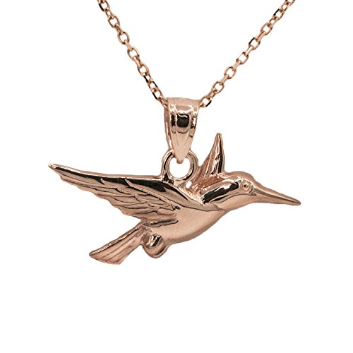 14k Rose Gold Hummingbird Pendant (18'' Mariner Chain) by Ice on Fire Jewelry