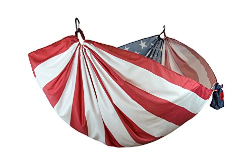 Grand Trunk Flag Series Single Parachute Nylon Hammock Portable with Carabiners and Haning Kit Perfect for Outdoor Adventures, Backpacking, and Festivals