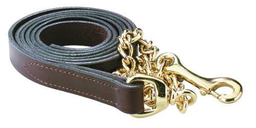 Perri's Leather Lead with 30-Inch Chain, Havana with Brass, 6-Feet 30-Inch by Perri's